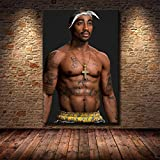 Hip-Hop Music Rapper Singer Tupac Shakur 2PAC Muscle Stature Tattoos HD Photos Canvas Painting Wall...