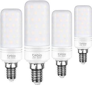 Tebio LED Plata Maíz Bombillas 15W E14 3000K Blanco Cálido LED Candelabros bombillas, 120W Bombilla Incandescente Equivalente, 1500LM, LED vela Bombillas No regulables(4 Packs)