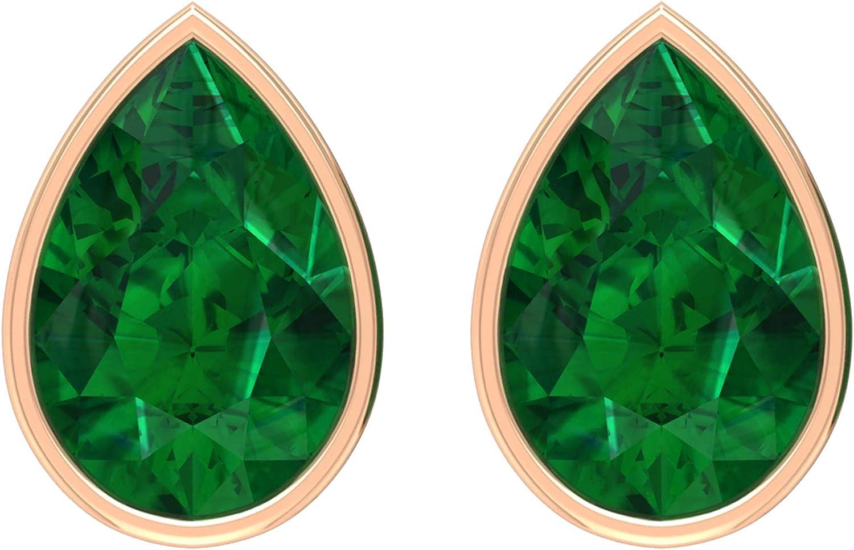 1 CT Bezel Set Emerald Teardrop Stud Earrings (AAA Quality),14K Rose Gold,Emerald