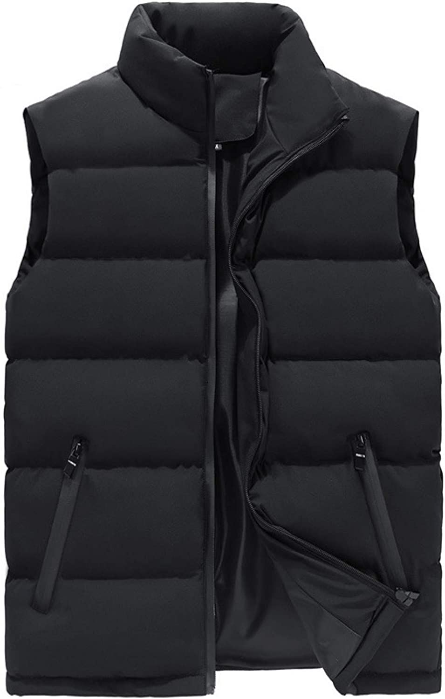 Men's Padded Puffer Down Vest Lightweight Polyester Stand Collar Zipper Up Sleeveless Jackets Gilet Perfect for Work