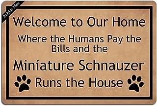 Ruiyida Schnauzer Welcome To Our Home Entrance Floor Mat Funny Doormat Door Mat Decorative Indoor Outdoor Doormat Non-woven 23.6 By 15.7 Inch Machine Washable Fabric Top