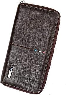 High end Smart Bluetooth Anti-Lost WalletBlocking Leather Organizer Checkbook Wallets for Women Long Wallet Zipper Clutch ...