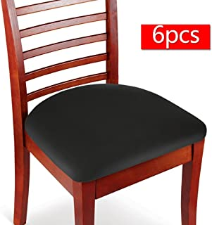Boshen 6PCS Elastic Spandex Chair Stretch Seat Covers Protector for Dining Room Kitchen Chairs Stretchable (Black, 6)