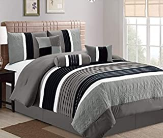 JBFF Collection Bed in Bag 7PC Luxury Stripe Microfiber Comforter Set (King, Grey)
