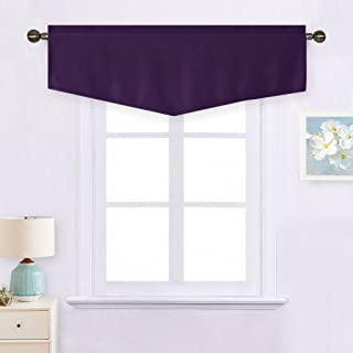 NICETOWN Blackout Valance Short Curtain - Thermal Insulated Ascot Rod Pocket Drape Window Curtain for Loft/Bathroom/Kids Room, 52W by 18L inches, Royal Purple, 1 Panel