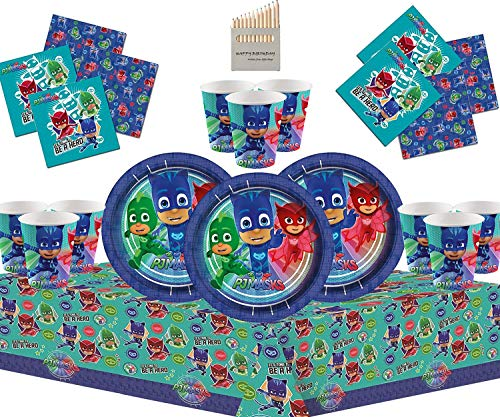 PJ Mask Party Supplies PJ Party Set Kit de Fiesta de cumpleaños para niños Decoraciones de vajilla 16 Invitados