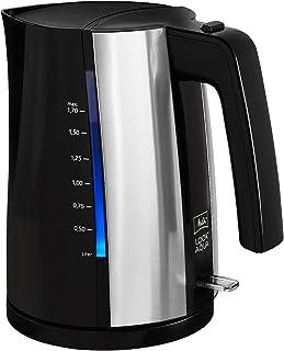 Melitta II Look Aqua 1026-02 BK SST-Hervidor de agua, 2400 W, apagado automático, resistencia oculta y protección contra sobrecalentamiento, plástico, 1,7 L, 1.7 litros, Negro/Acero Inoxidable