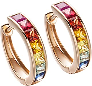 14k Solid Rose Gold Channel Setting Multi Colored Rainbow Princess Cut Natural Sapphire Hinged Huggie Hoop Earrings Dainty Delicate Fine Jewelry For Women Girls Diameter 15mm