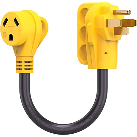 30 amp Female Receptacle Dogbone Power Electrical Connector with Grip Handle 2 SCITOO Heavy Duty RV Electrical Cord Cable Adapter 50 Male to