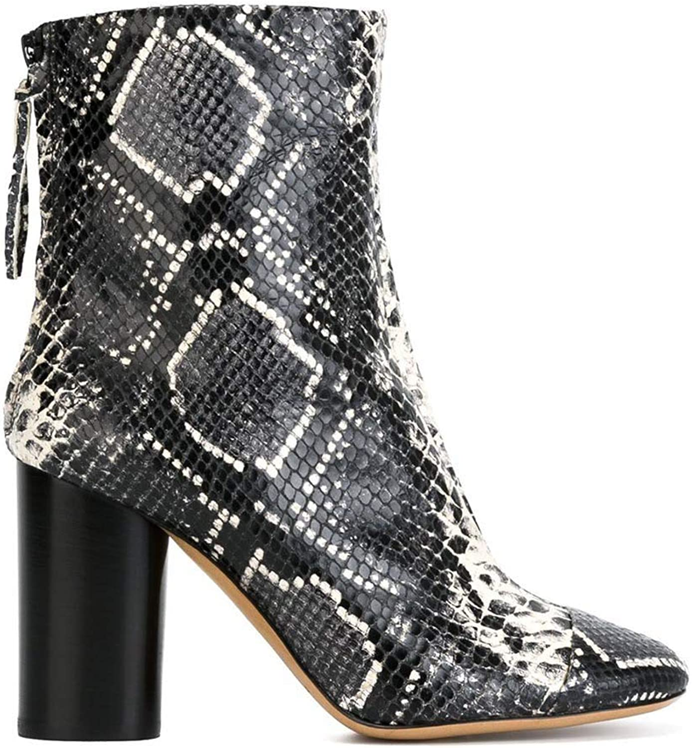 EQEQ Women's Ankle Boots Comfortable Thick Snakeskin Pointed Gorgeous Booties