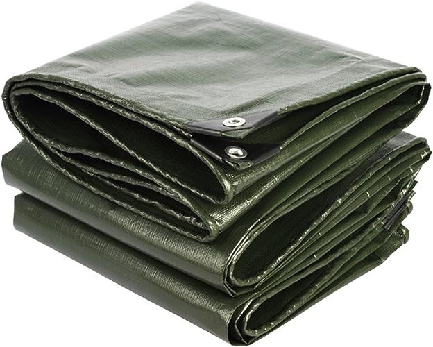 LIYIN-Bache Solaire imperméable de polyéthylène de bache avec la Couche prougeectrice de Haute qualité, appropriée au Manteau de Course extérieur de Manteau, Vert d'armée + gris argenté, épaisseur 0,38