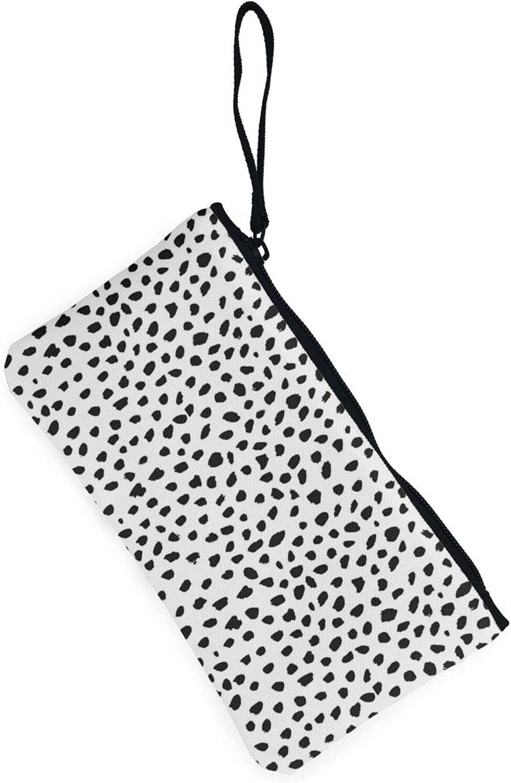 AORRUAM Black and white plaid Canvas Coin Purse,Canvas Zipper Pencil Cases,Canvas Change Purse Pouch Mini Wallet Coin Bag