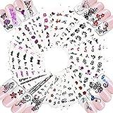 50 Feuilles Floral Nail Autocollant Stickers Ongles Décalques de Transfert Forme Papillon Fleur Design Autocollants Couleur Mixte Décoration Bricolage Cadeau Accessoire pour Femmes