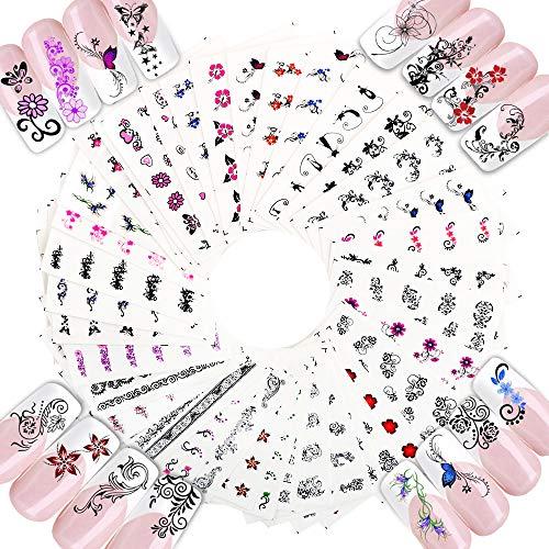 FLOFIA 50 Blätter Nagelsticker Blumen Aufkleber Sommer Nailart Sticker Nail Kunst Tattoo Maniküre Deko DIY Nagel Abziehbilder