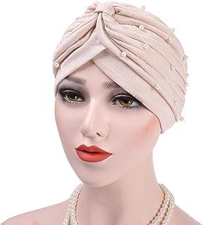 cypressen Chemo - Gorro para Mujer y niña, con Perlas y Turbante