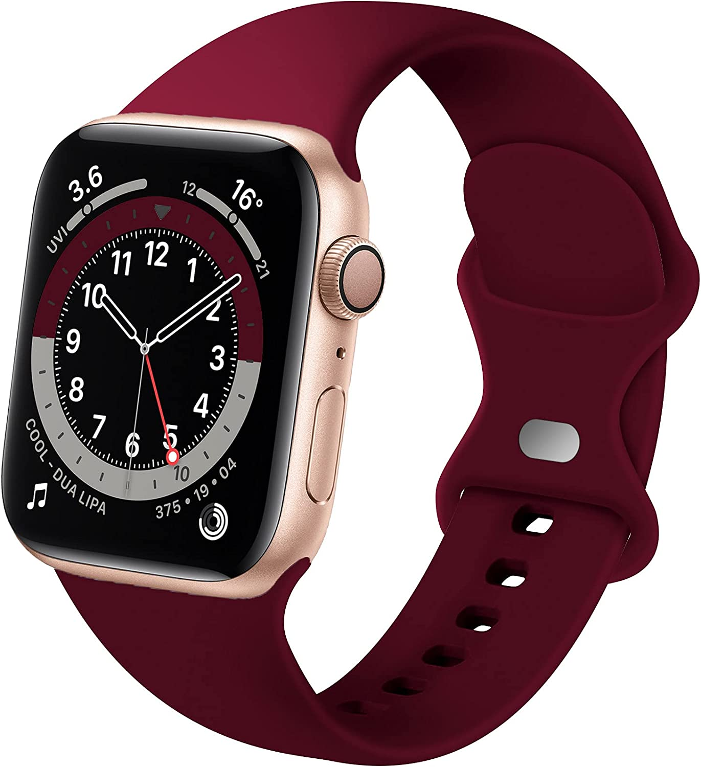Distore Bands Compatible with Apple Watch 38mm 40mm 42mm 44mm, Soft Silicone Replacement Sport Strap for iWatch SE Series 6/5/4/3/2/1 Women Men, Wine Red 38mm/40mm S/M
