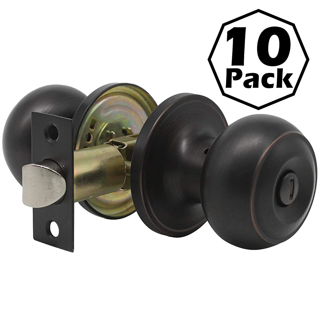 Gobrico Round Ball Style Door Knob Keyless Privacy Bedroom and Bathroom Handle Lockset Oil Rubbed Bronze Finish 10Pack