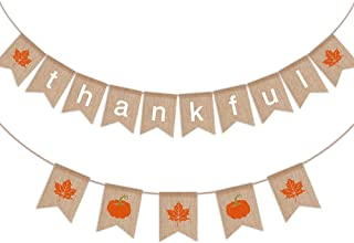 Funarty Thankful Burlap Banner, Pumpkin Leaves Thanksgiving Fall Autumn Decorations Supplies, Mantel Fireplace Thanks Party Home Decor