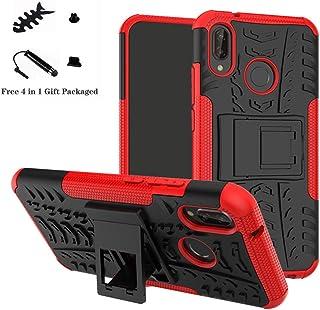comprar comparacion LiuShan Huawei P20 Lite Funda, Heavy Duty Silicona Híbrida Rugged Armor Soporte Cáscara de Cubierta Protectora de Doble Ca...