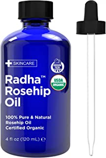Radha Beauty USDA Certified Organic Rosehip Oil, 4 oz. - 100% Pure & Cold Pressed. All Natural Anti-Aging Moisturizing Treatment for Face, Hair, Skin & Nails, Acne Scars, Wrinkles, Dry Spots