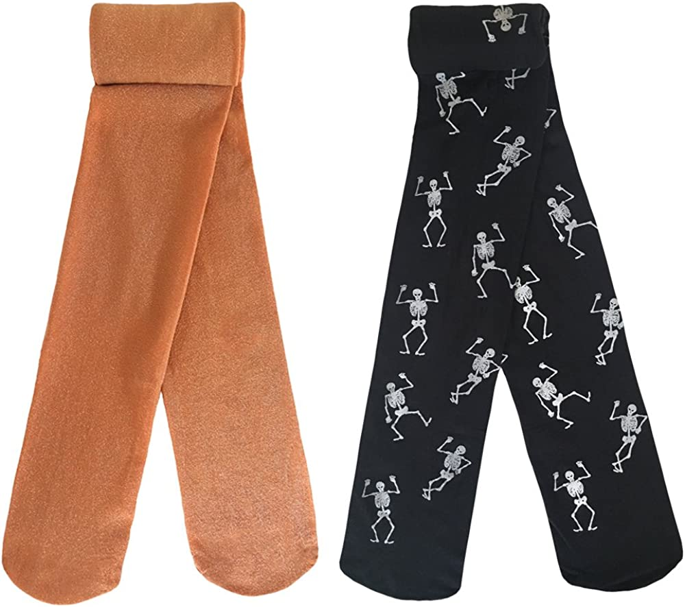 Country Kids Girls' Fun Holiday Glow In The Dark Skeleton Novelty Tights, Pack of 2