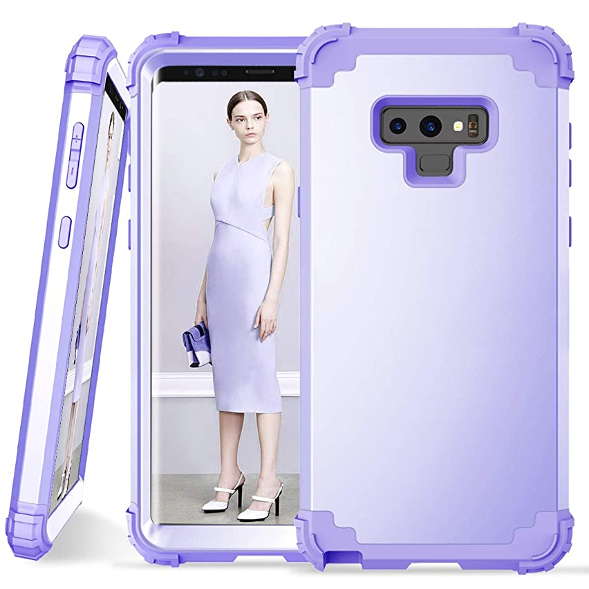 Galaxy Note 9 Case, Dooge 3in1 Hybrid Impact Heavy Duty Armor Defender Full-Body Shockproof Anti Slip Protective Cover with Silicone + Hard Solid PC Bumper for Samsung Galaxy Note 9 - Lavender