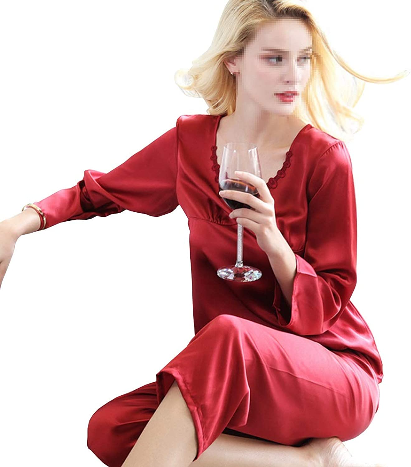 CEFULTY Ladies Silk Pajamas Set Round Neck Design Longsleeved Trousers Silk Pajamas