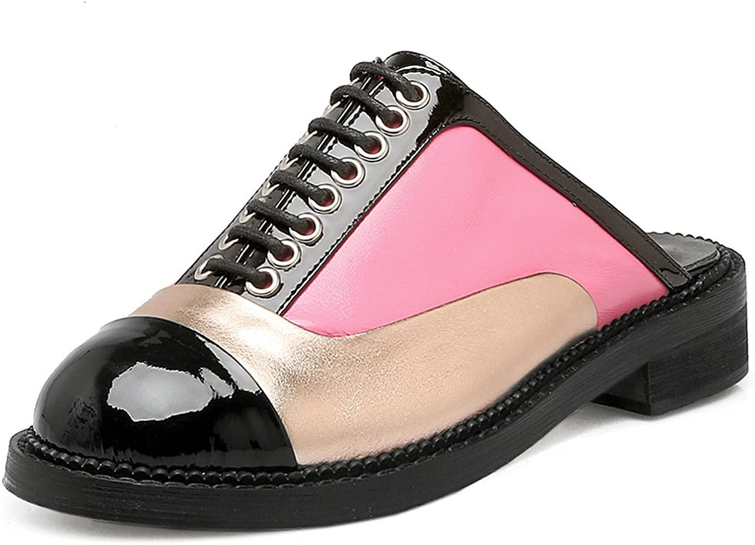 AIWEIYi Womens Round Toe Fashion Casual Comfort Patent Leather Low Heel Sandals Slippers Pink