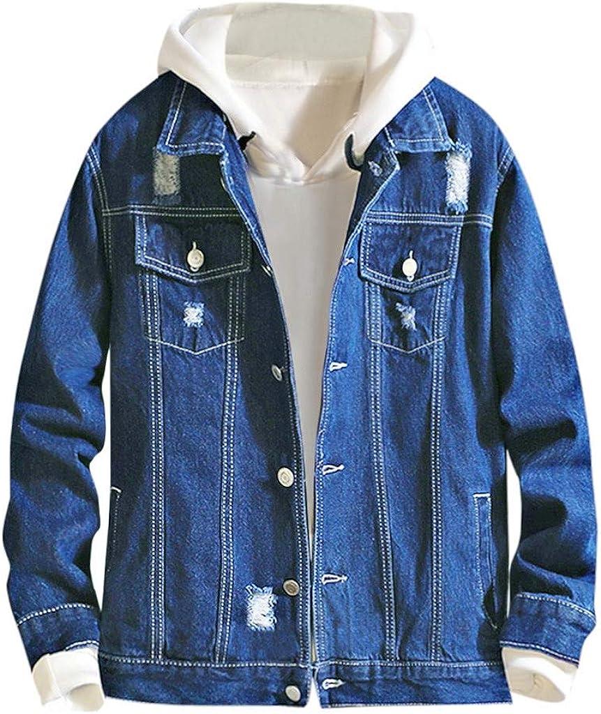 Men's Jean Jacket Winter Casual Long Sleeve Jeans Coat with Hood for Outdoor Windproof