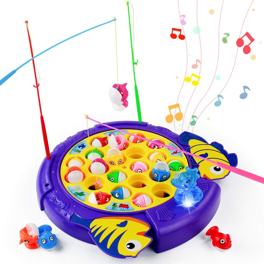 PL Juegos de Mesa para Niños-Juego de Pesca Rotativos Música Volumen Ajustable con 21 Peces de Juguete 4 Caña de Pescar Juguetes Educativos Niños Niñas 3 4 5 6 Años: Amazon.es: Juguetes y juegos