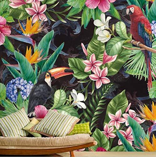 Fototapete 3D Effekt Tapete Selbstklebend 3D Tapete Schlafzimmer Tropischer Regenwald-Papageien-Blatt-Foto-Wandgemälde 3D Tapeten 3D Effekt Wohnzimmer Wandtapete Poster Bilder