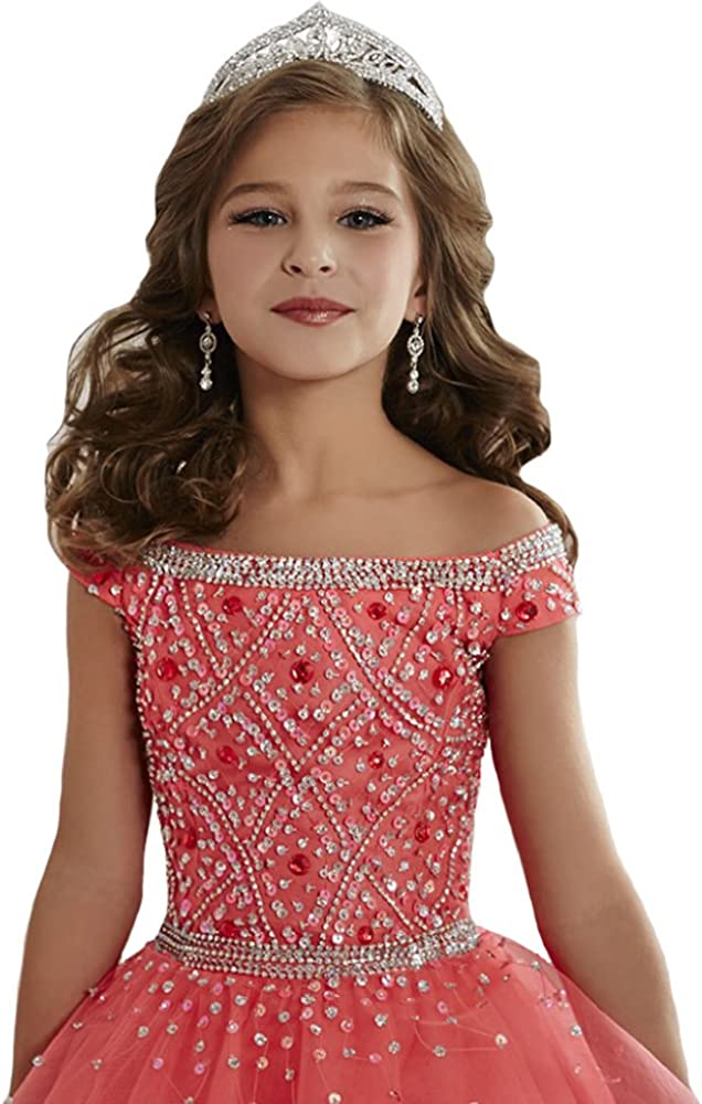 Zhiban Girls' Off Shoulder Evening Dresses Kids' Sequins Tulle Pageant Gowns