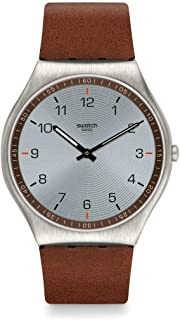 Swatch Skin Irony Stainless Steel Swiss Quartz Leather Strap, Brown, 16 Casual Watch (Model: SS07S108)