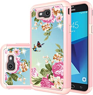 Samsung Galaxy J7 Perx Case,Galaxy J7 2017,Galaxy J7 V 2017 Case,Yiakeng Shockproof Protection Tough Rugged Dual Layer Armor Case Cover for Samsung Galaxy J7 Sky Pro / J7V (Rose Gold Flower)