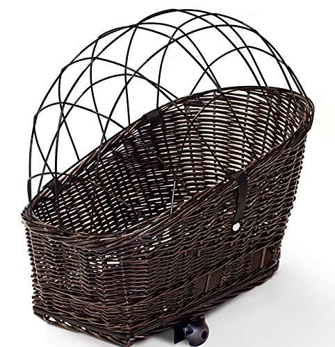 Tigana - Hundefahrradkorb für Gepäckträger aus Weide 56 x 36 cm mit Metallgitter Tierkorb Hundekorb für Fahrrad + Kissen in BRAUN (B-S)