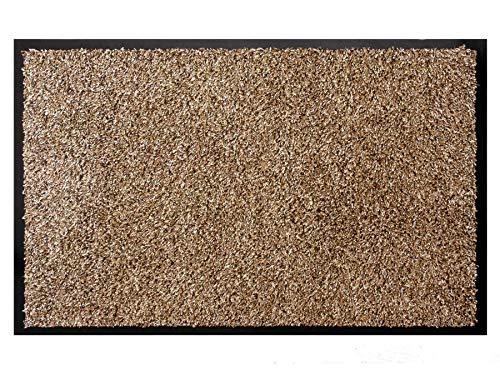 Schmutzfangmatte Fußmatte FLEXI Weiß/Beige/Braun 60x90 cm - Waschbare, Rutschfeste Sauberlauf-Matte, Eingangsmatte Haustür Innen & Außen, Türvorleger 100% Baumwolle, Hohe Wasseraufnahmefähigkeit