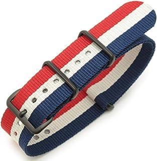 Cinturino orologio 18mm, 20mm o 22mm Cinturino orologio in nylon bandiera francese PVD nero (Francia, Lussemburgo, Paesi B...