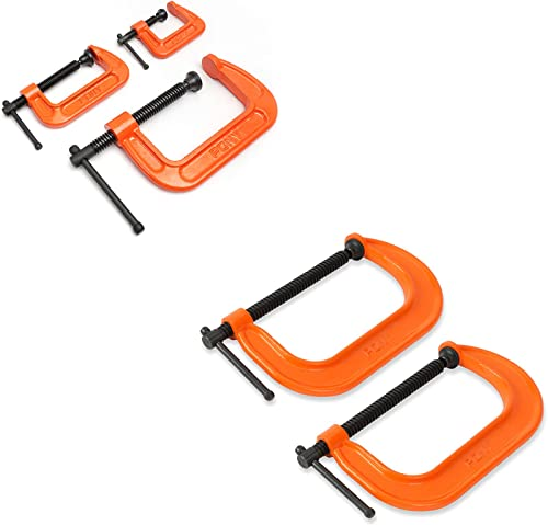 """high quality PONY Malleable Iron C-Clamp Set, 3-Piece, (1"""", popular 2"""", 3"""") + Pony online sale 6-in C-Clamp Set, 2 Pack outlet online sale"""