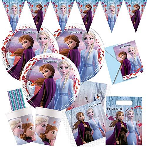 spielum 57-teiliges Party-Set Frozen - Die Eiskönigin 2 - Teller Pappbecher Servietten Partytüten Einladungen Wimpelkette Trinkhalme für 6 - 8 Kinder