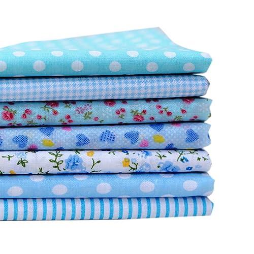 Souarts 7PCS Mixtes Textile Tissu Coton Motif Fleur pour DIY Patchwork Artisanat Couture Bleu 50cmx50cm