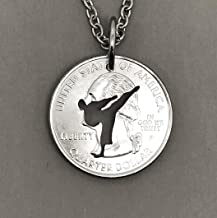 Karate Necklace or Keychain Made From A Quarter Coin, Includes Chain and Key Ring