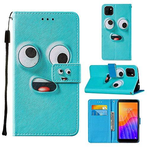 Miagon Lanyard Brieftasche Etui für Huawei Y5P,Lustig Groß Auge Entwurf Pu Leder Magnetverschluss Weich Innere Buchstil Schutzhülle Klapphülle mit Standfunktion