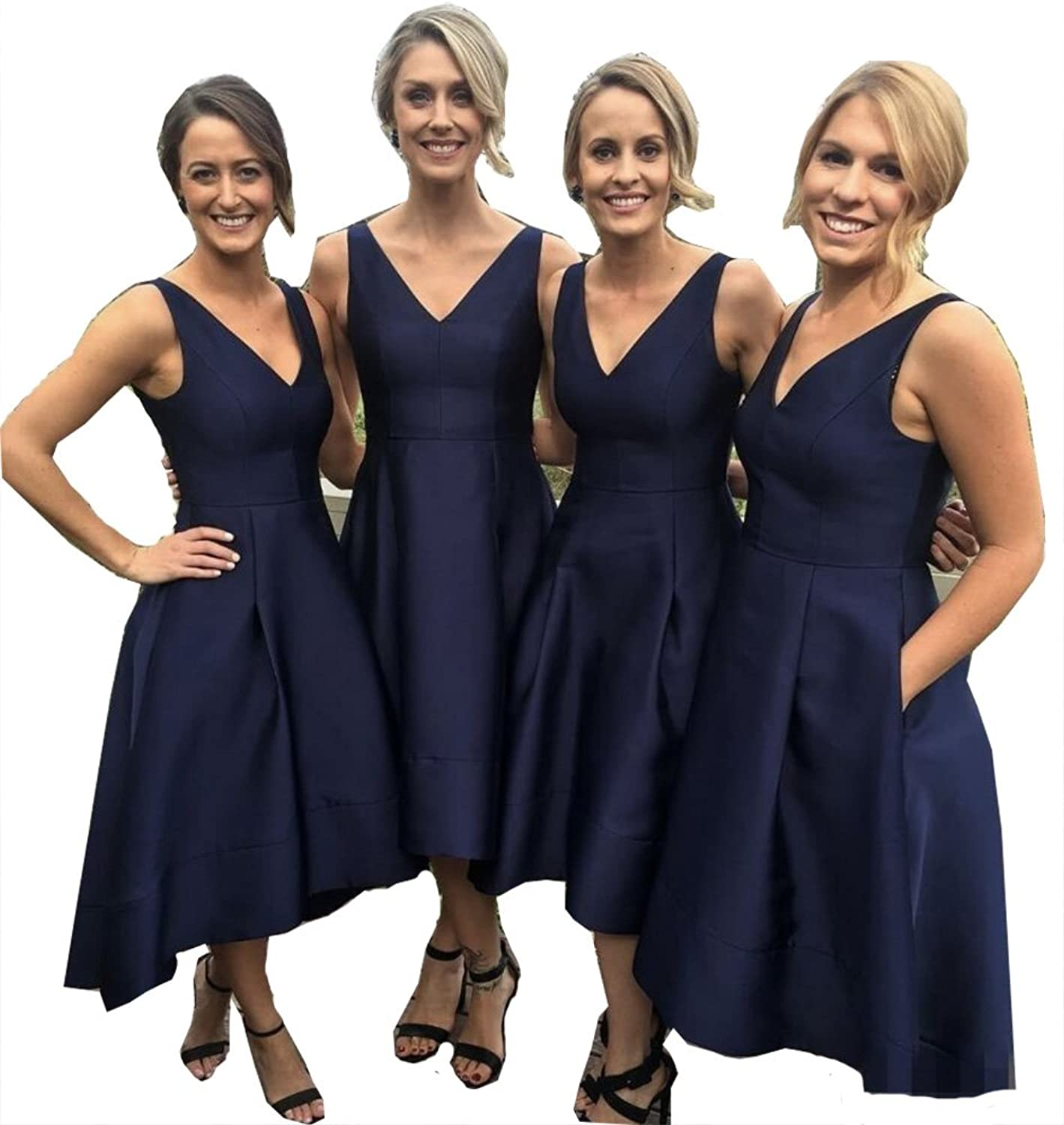 Fanciest Women's V Neck Satin Bridesmaid Dresses Short With Pockets Wedding Party Dress