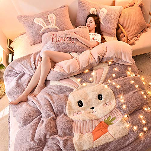 geek cook Bedding sets king,Four-piece set of winter lamb wool bed lamb wool double-sided fleece thick warm flannel coral fleece girl quilt cover-Cute rabbit_Sheet type-1.8m bed quilt cover 200 * 230