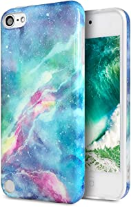 J.west Case for New iPod Touch 7, iPod Touch 6th Generation, iPod Touch 5 Vintage Pattern Print Cute Clear Soft Silicone Cover for Girls/Women Flex Slim Pattern Design Drop Protective Case(Galaxy)