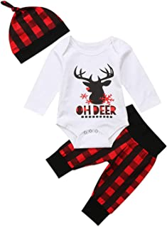Baby Boy Girl Christmas Romper Tops + Plaid Pants with Hat Clothing Set Outfits