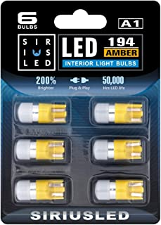SIRIUSLED Compact size Amber/Orange/Yellow 168 194 2825 Single Chip LED Interior Bulb for Car and Truck Map Dome Door Cour...
