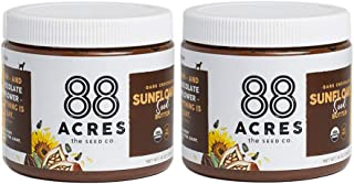 88 Acres, Organic Dark Chocolate Sunflower Seed Butter, Nut-Free, Non-GMO, Dairy-Free, 14 Ounce, 2 Pack