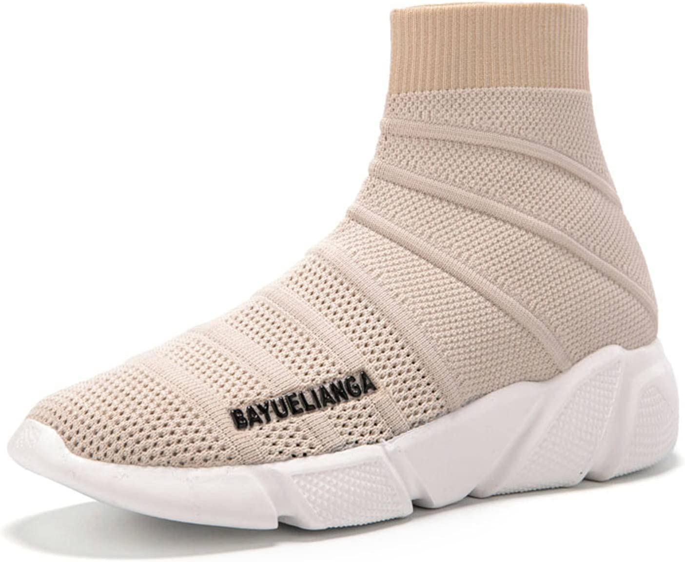 NC Ladies Socks Sports Shoes High-top Women's Shoes Casual Breathable Flying Woven Couple Walking Shoes