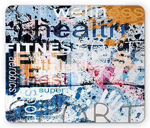 Fitness Mauspad Gesundheit Wellness Aerobic Sport Wörter Illustration Auf Grunge Vintage Style Hintergrund Rechteck Rutschfestes Gummi Mousepad Standardgröße Blau Schwarz